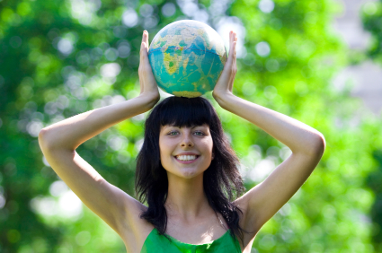 woman with global