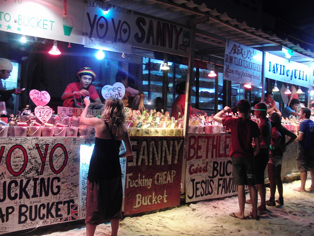 Buying buckets, Full Moon Party, Thailand