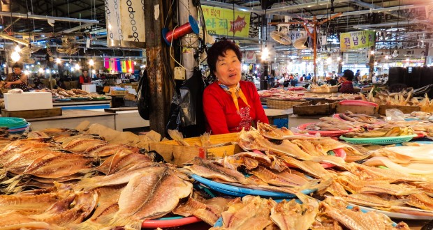 five day market trader with dried fish