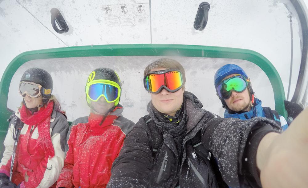 Ski lift snowboarding in Austria