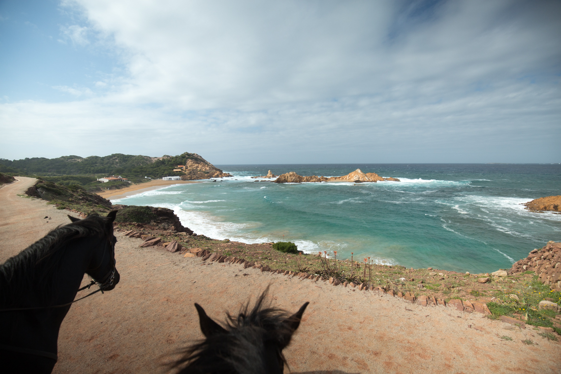 View of coastline horse riding