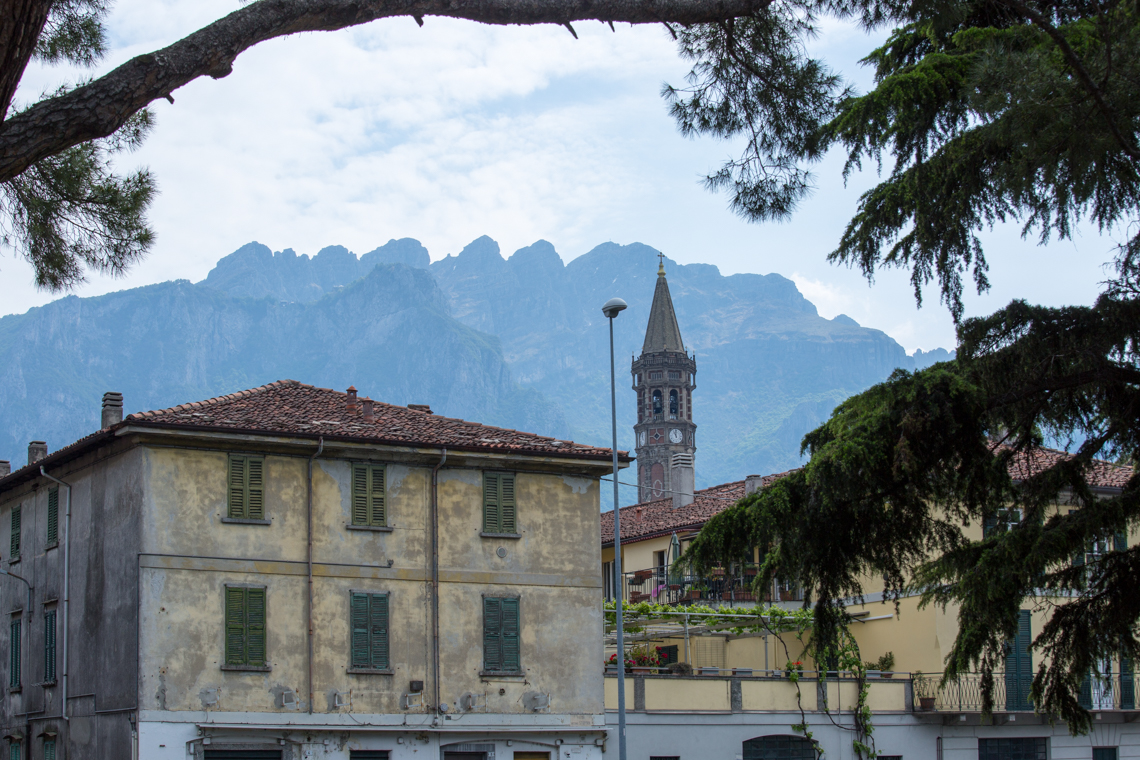 Lecco's Bell Tower in the distance and Monte Resegone
