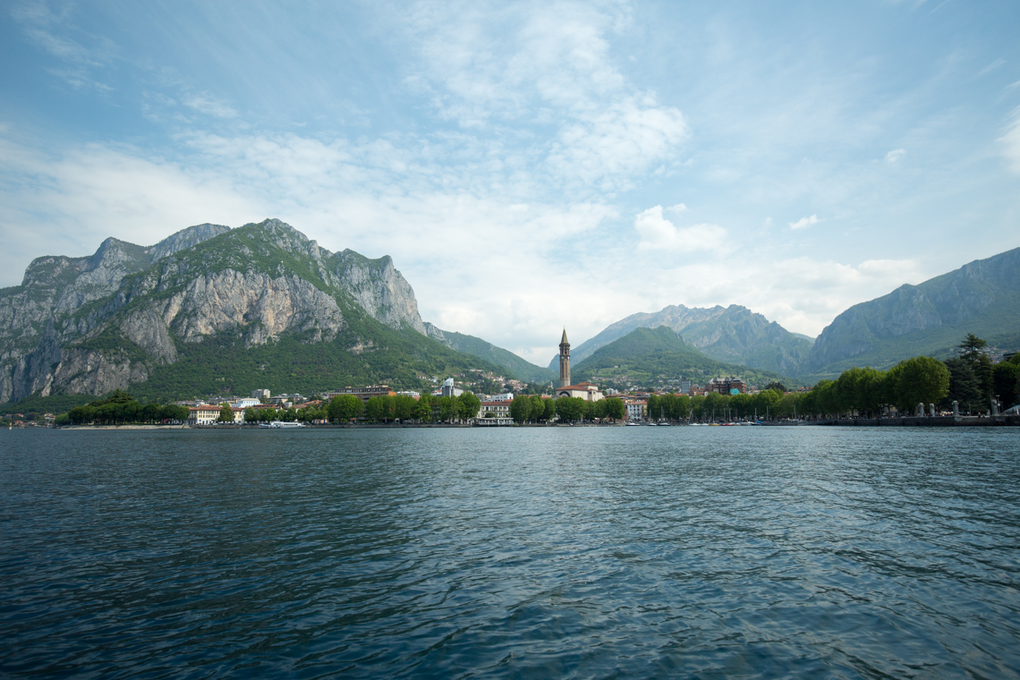 Mountains and Lecco, view from Lake Como