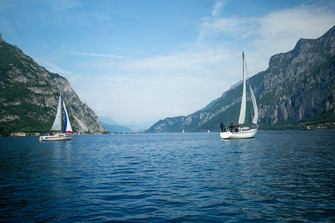 Sailing boats on Lake Como, Lecco