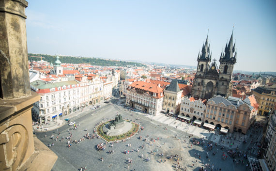 Square from clock tower Prague