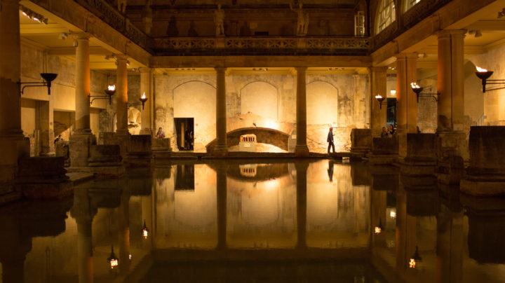 Exploring the ancient Roman Baths by torchlight, Bath
